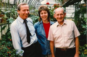 Greenhouse Staff - Approx. 1989 Karl Wimmi, Beverly Vogel (apprentice) and Roland Duffy, chief horticulturalist.